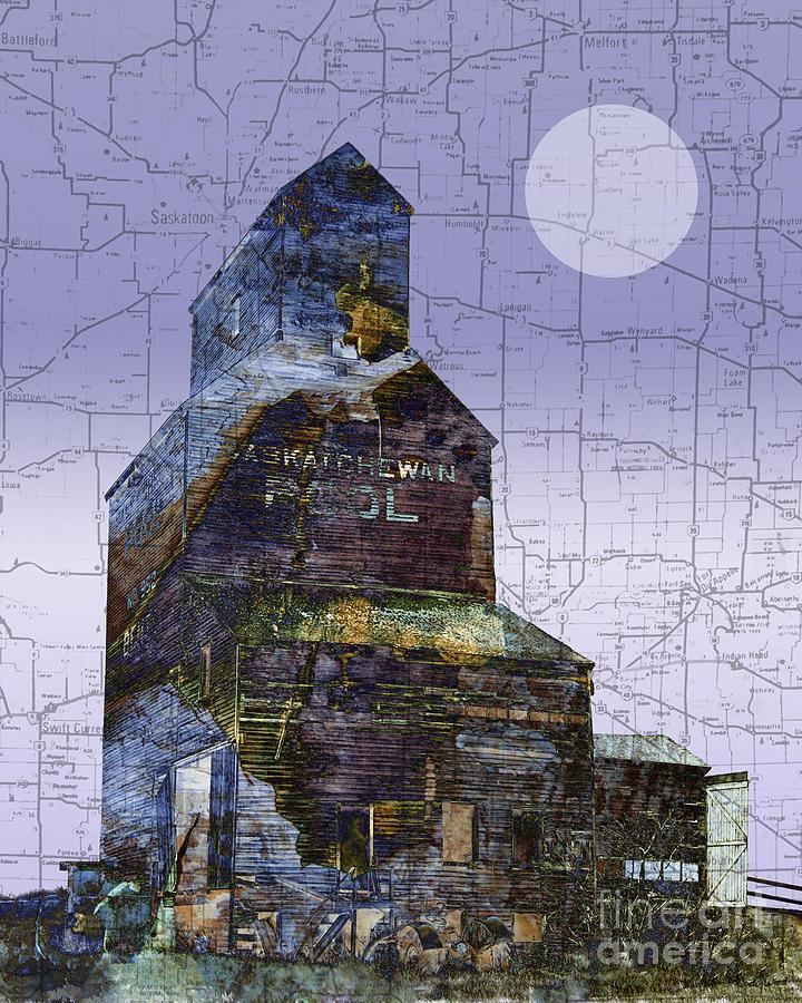 Grain Elevator Digital Art - Patchwork Elevator by Judy Wood