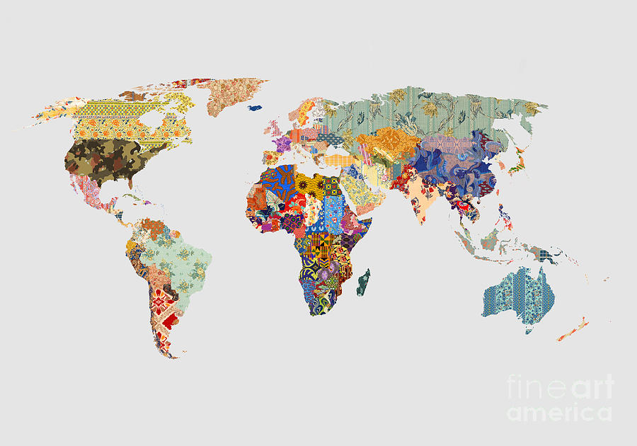 Patchwork World Map Digital Art By Kitty Bitty