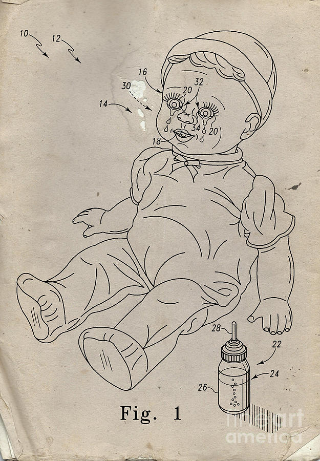 Invention Digital Art - Patent For Crying Baby Doll by Edward Fielding