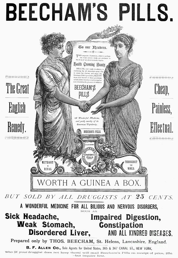 1890 Photograph - Patent Medicine Pill, 1890 by Granger