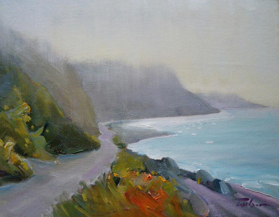 Dallas Road Painting - Path - Dallas Road Beach by Ron Wilson