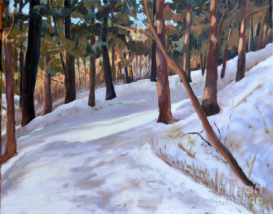 Winter Scenery Painting - Path In The Winter Woods by Joan McGivney