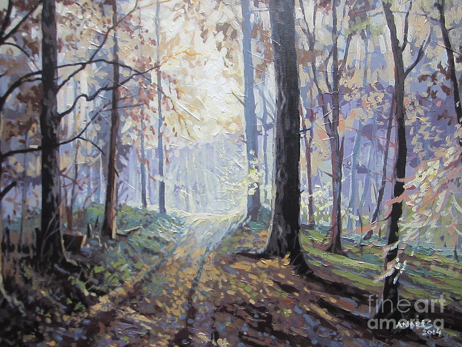 Path In The Woods Paintings Painting - Path In The Woods by Andrei Attila Mezei