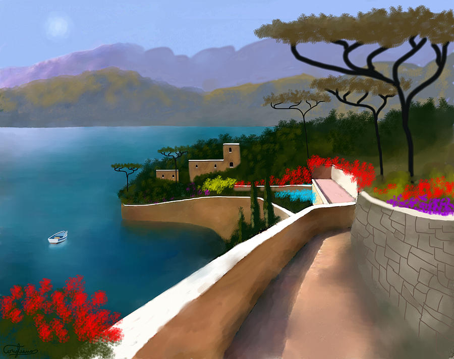 Amalfi Coast Painting - Path Of Splendors by Larry Cirigliano