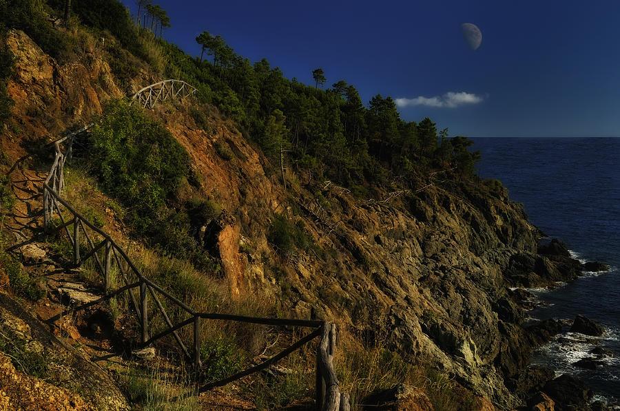 Luna Photograph - Path On The Rocks With Half Moon by Enrico Pelos