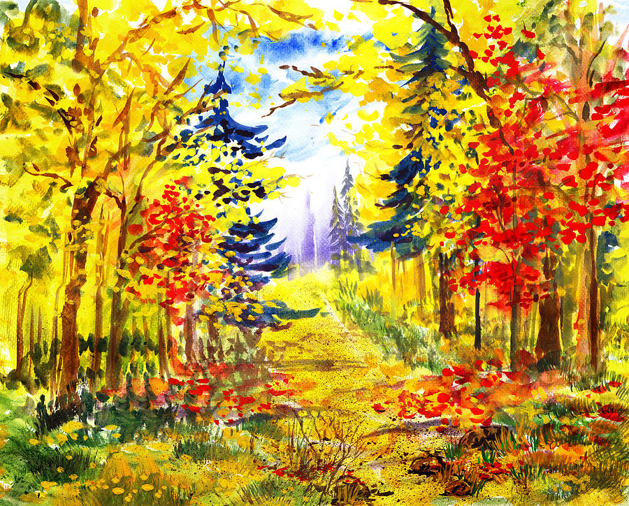 Landscape Painting - Path To The Fall by Irina Sztukowski