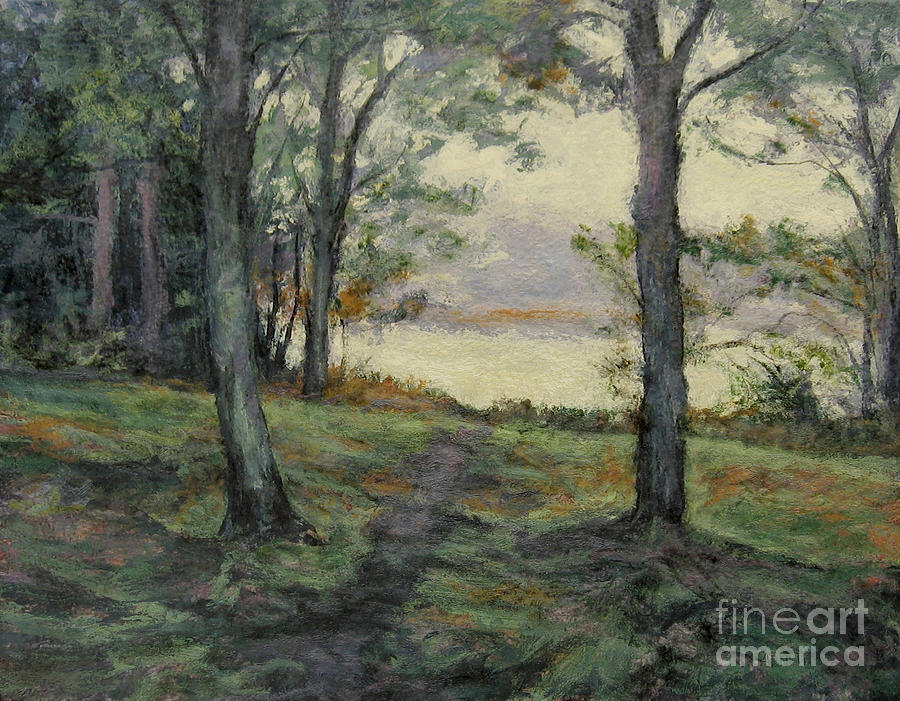 Autumn Morning Painting - Path To The Pond / Early Morning by Gregory Arnett