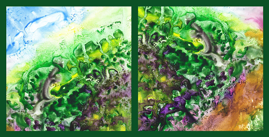 Abstract Painting - Path To The Unknown Diptych In Green by Irina Sztukowski