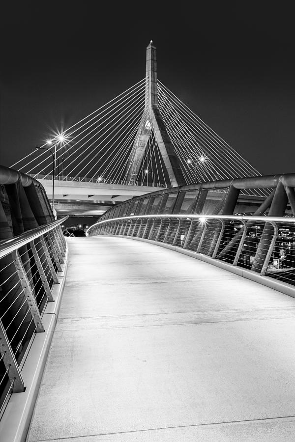 Boston Photograph - Path To The Zakim Bridge Bw by Susan Candelario