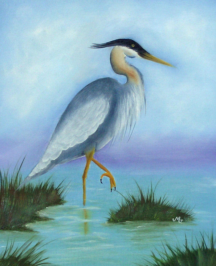 Bird Painting - Patience Blue Heron by Mary Gaines