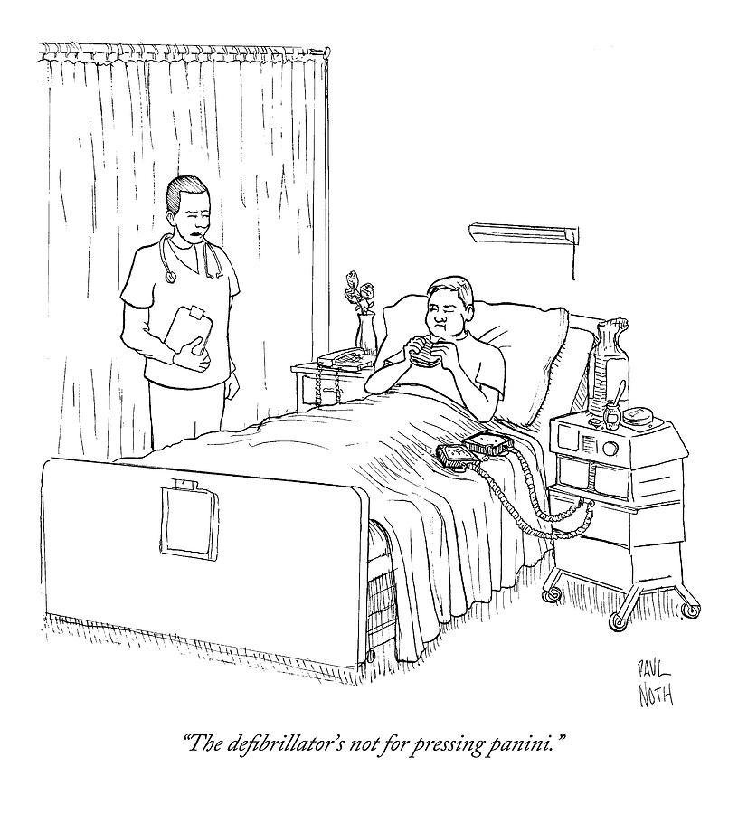 Patient Eating Sandwich In Hospital Bed Drawing by Paul Noth