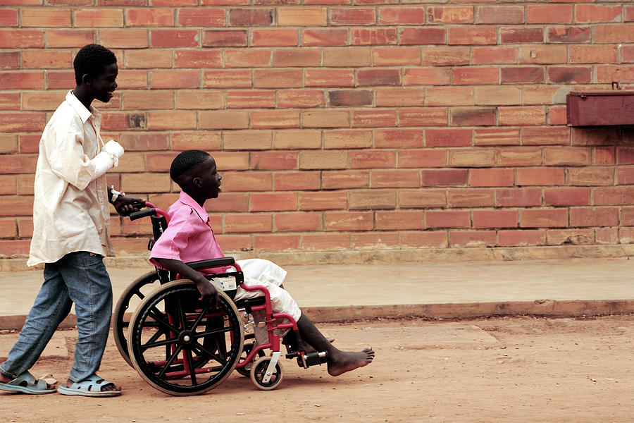 Disability Photograph - Patients Outside A Hospital by Mauro Fermariello/science Photo Library