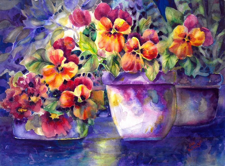 Pansies Painting - Patio Pansies by Ann  Nicholson