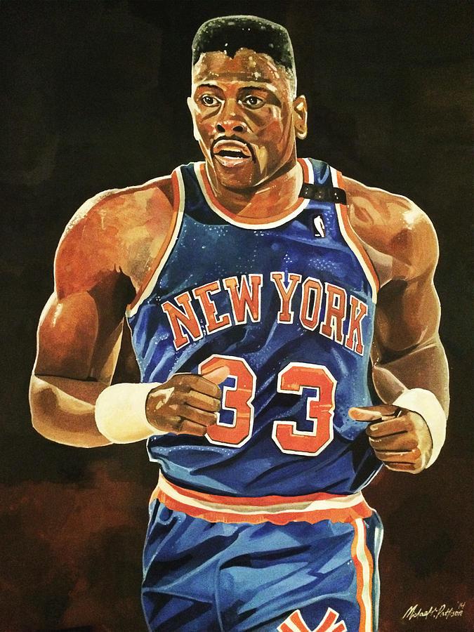 Patrick Ewing Painting - Patrick Ewing New York Knicks by Michael  Pattison