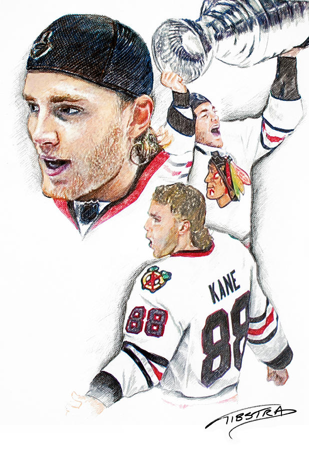 Patrick Kane Kaner All Star Spinarama Chicago Blackhawks Nhl Stanley Cup National Hockey League United Center Drawing - Patrick Kane - The Moment by Jerry Tibstra