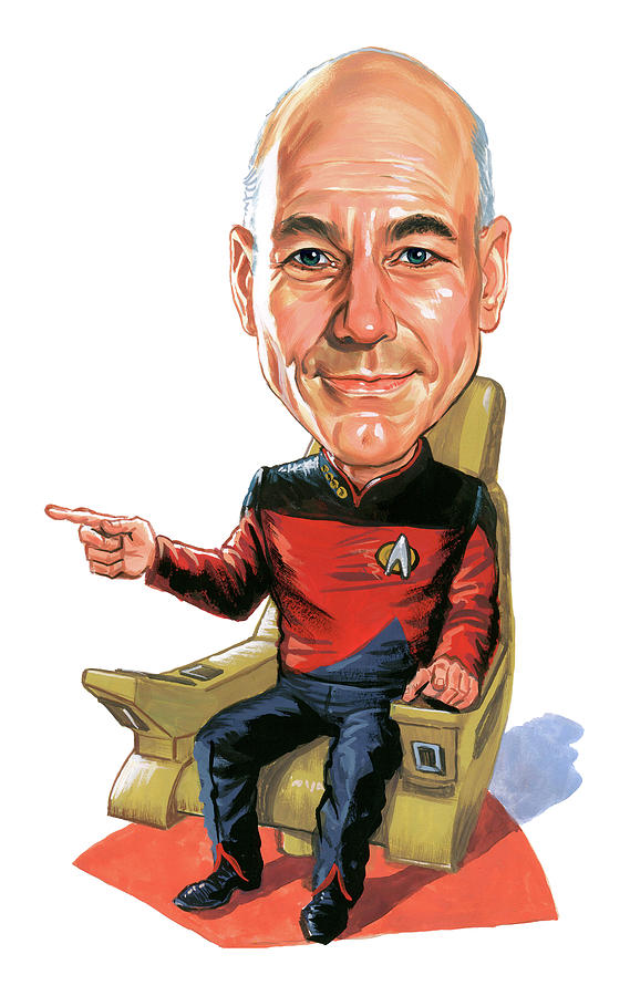 Patrick Stewart As Jean-luc Picard Painting