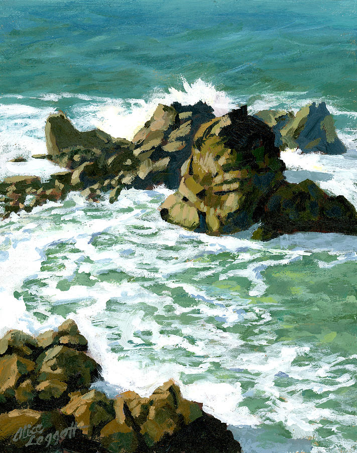 Ocean Painting - Patricks Point Rocks by Alice Leggett