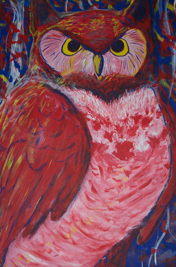 Owl Painting - Patriot by Lawrence Weiner