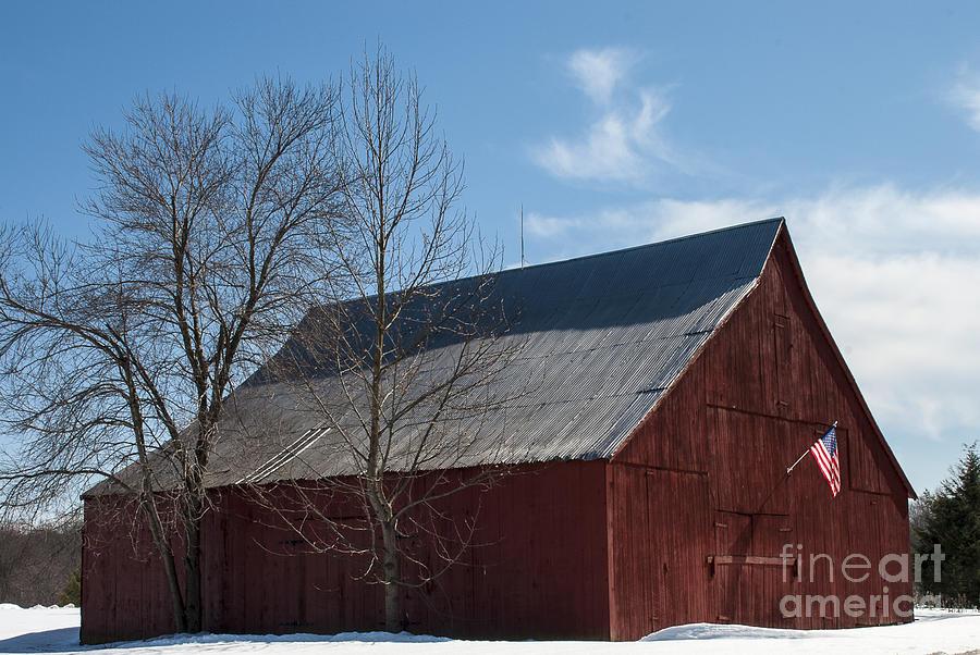 Snow Photograph - Patriotic Barn In Snow by Lauren Brice