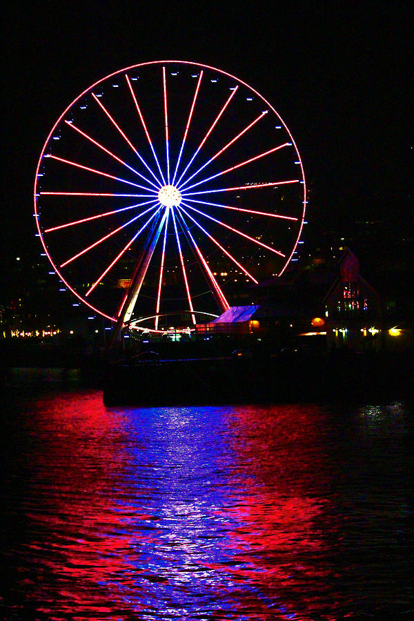 Landscapes Photograph - Patriotic Ferris Wheel by Kym Backland