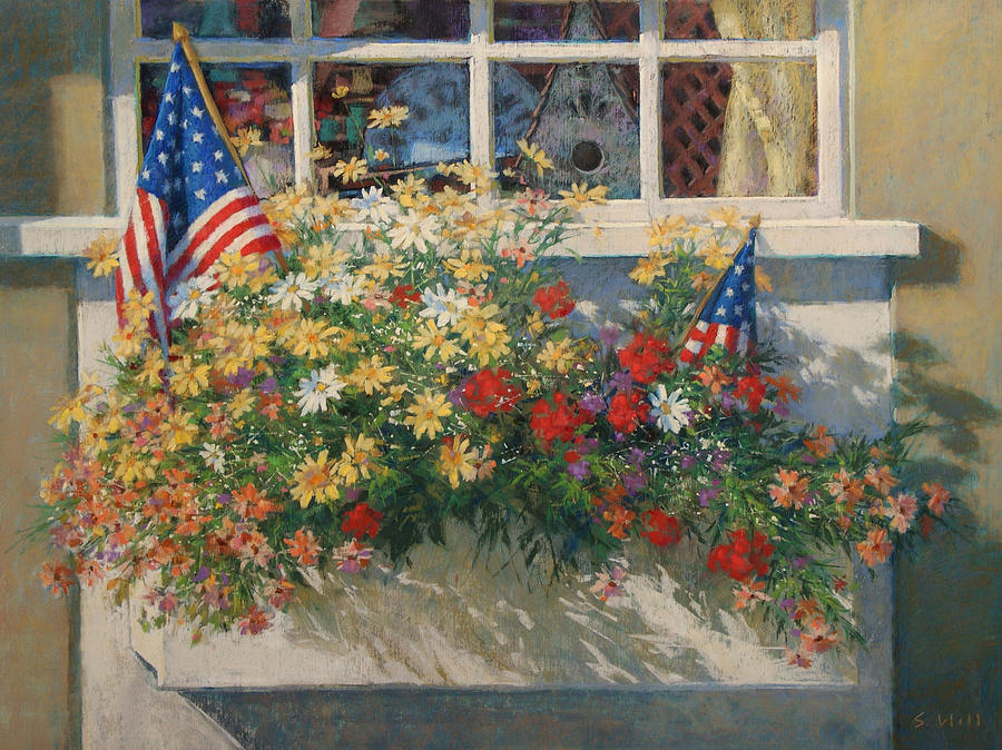 Flags Painting - Patriotic Flower Box by Sharon Will