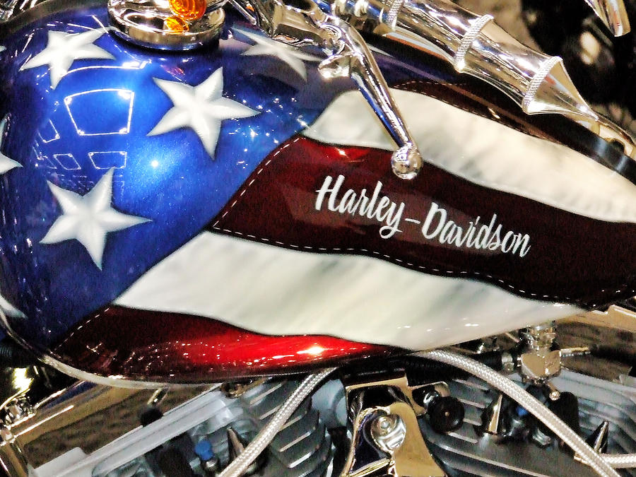 Patriotic Harley Davidson Photograph By Charles Cook