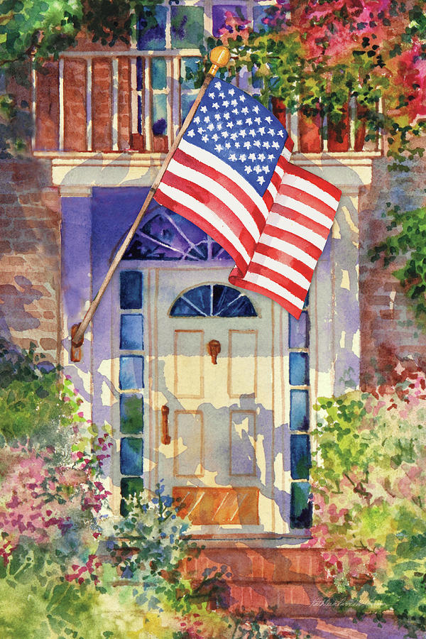 4th Of July Painting - Patriotic Home by Kathleen Parr Mckenna