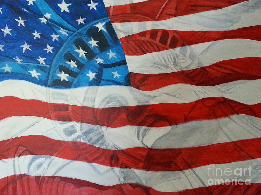 Statue Of Liberty Painting - Patriotic by Michelley Fletcher