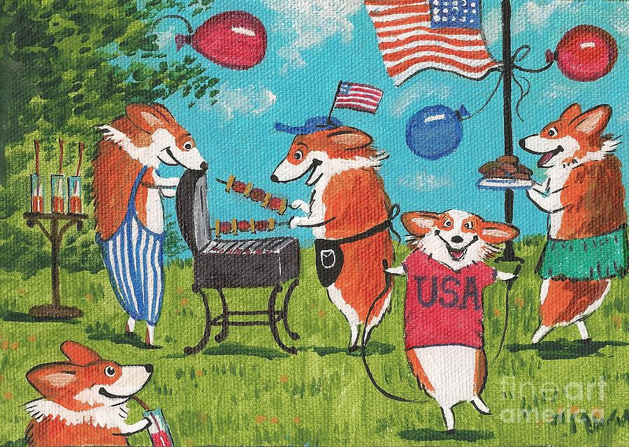 Print Painting - Patriotic Pups by Margaryta Yermolayeva