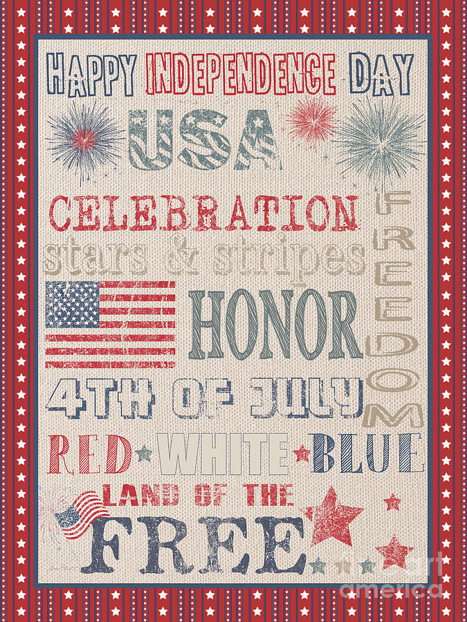 Usa Painting - Patriotic Typography-b by Jean Plout