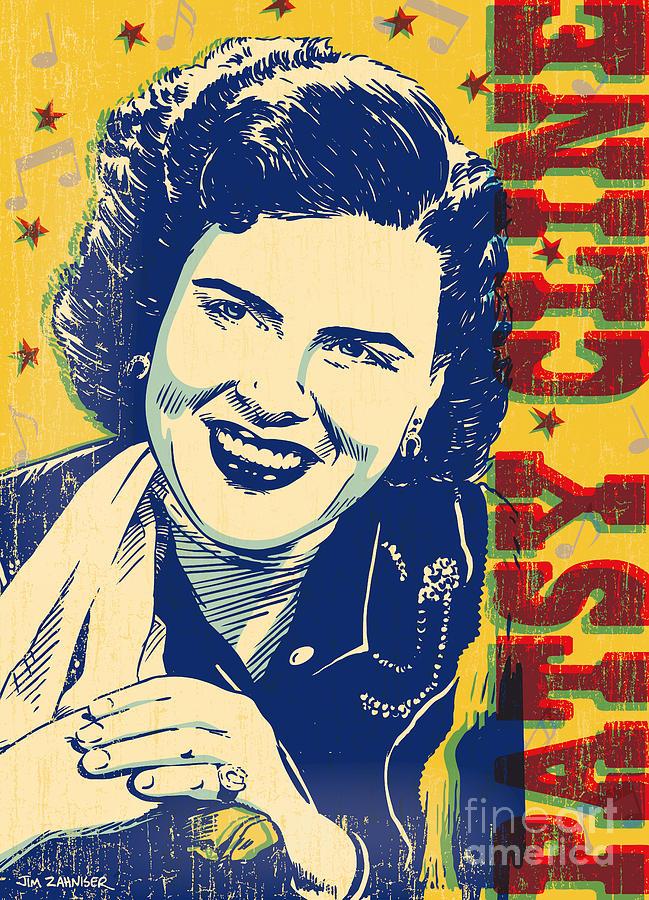 Country And Western Digital Art - Patsy Cline Pop Art by Jim Zahniser