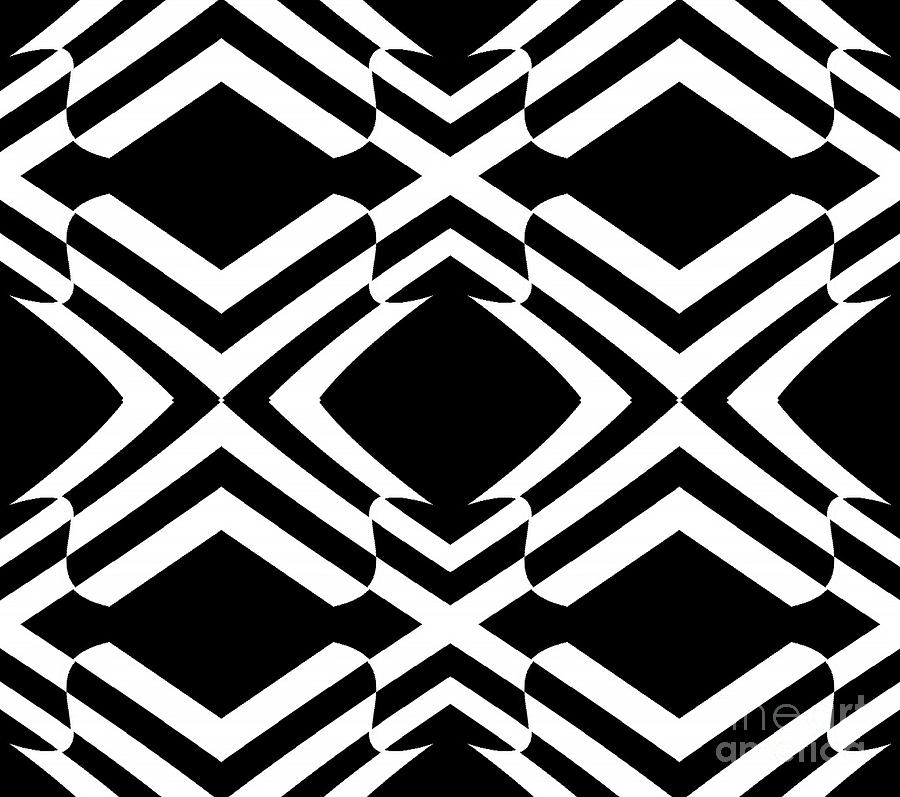 Abstract digital art pattern black white op art no 292 by drinka mercep
