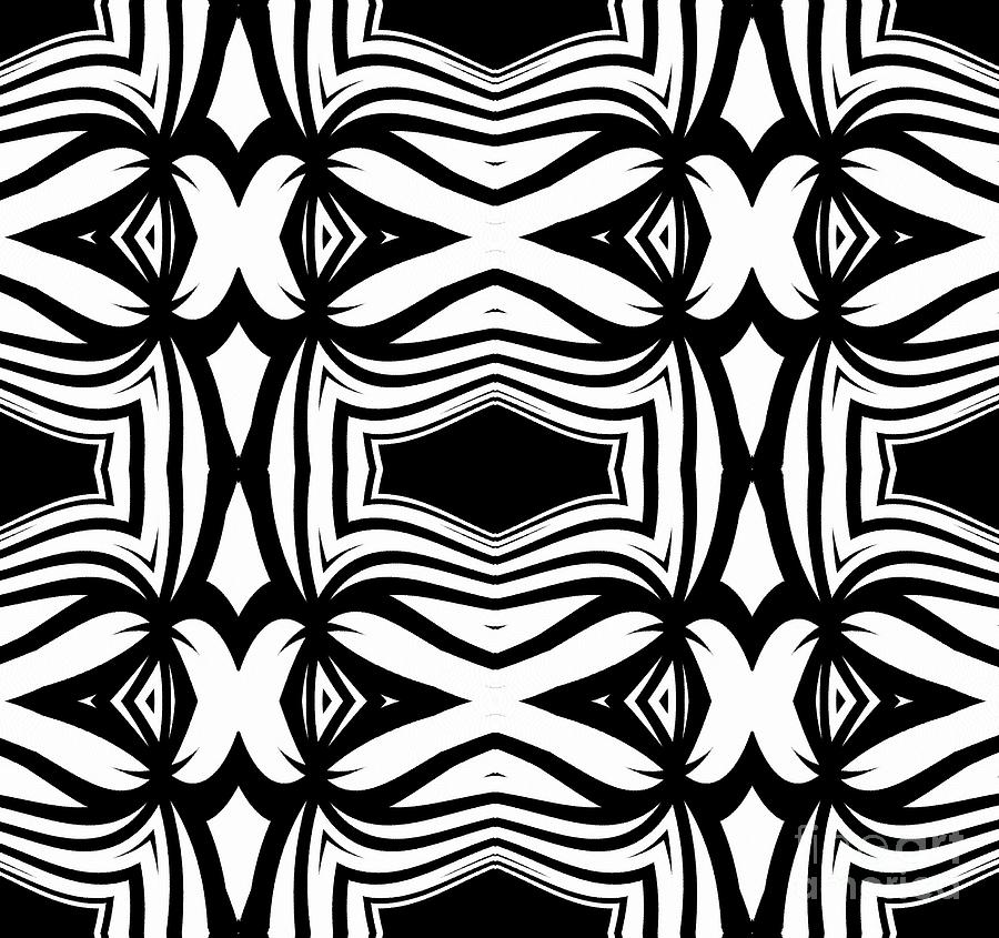 Pattern Black White Ornament Abstract Art Print No 40