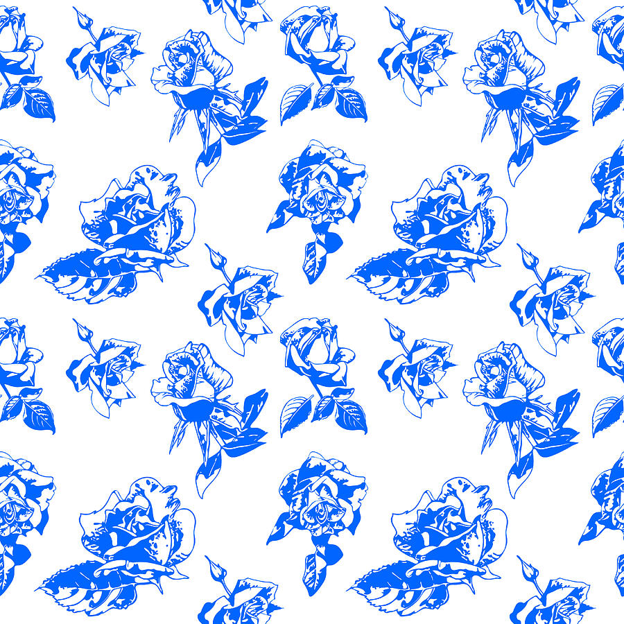 Pattern Blue Rose On A White Background Digital Art by Hanna Furs