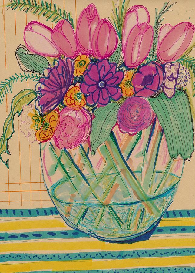 Pattern Flower Still Life Drawing