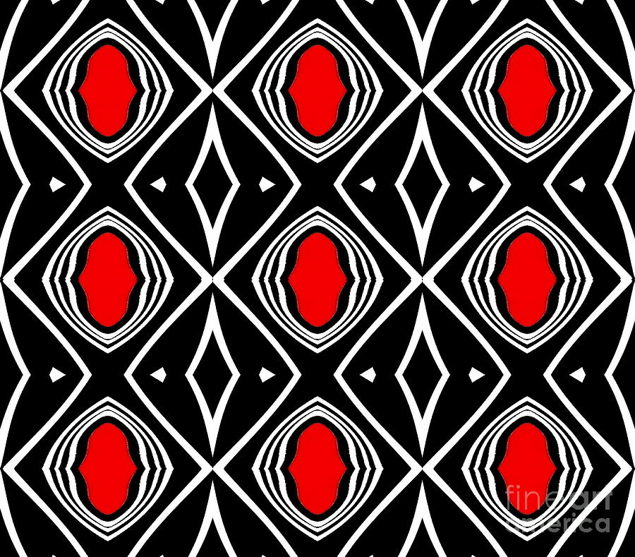Abstract Artwork Digital Art - Pattern Geometric Black White Red Art No.391. by Drinka Mercep