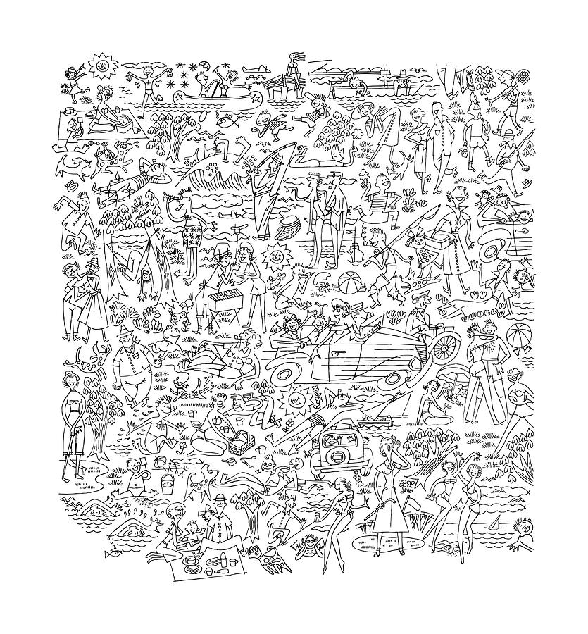 Pattern Of People Enjoying Life Drawing by CSA-Archive