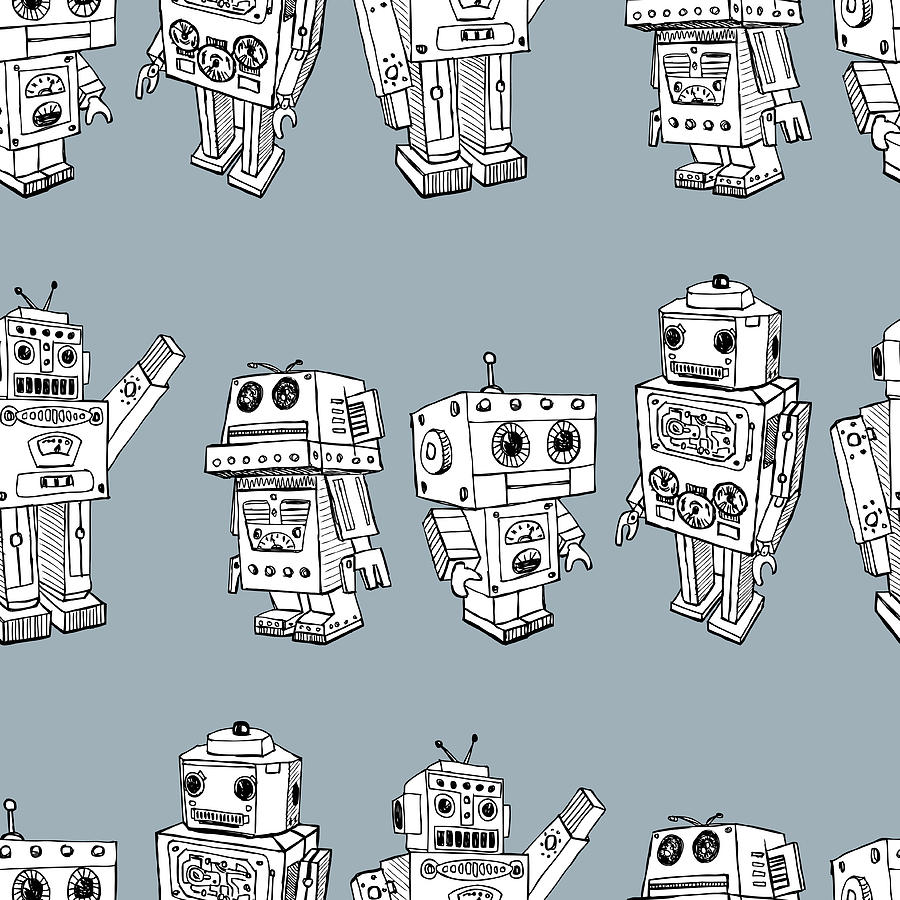 Pattern Of The Toy Robots Digital Art by Chronicler101