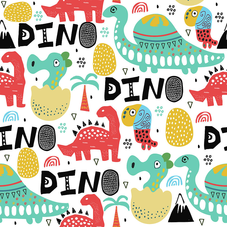 Pattern With Dino,dinosaur With Palms Digital Art by Olechkaolia
