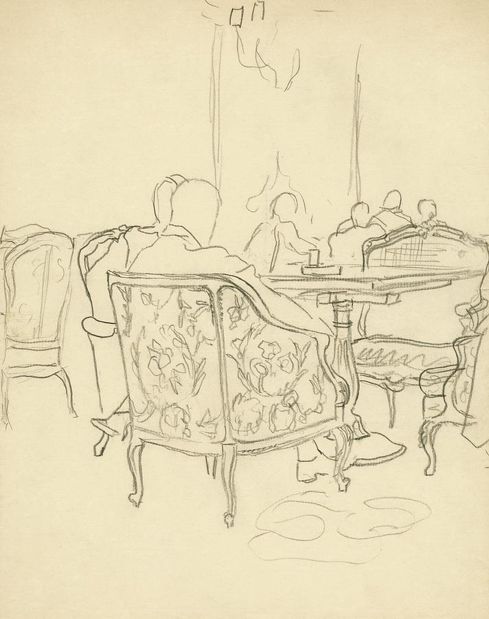 Patterned Chairs At A Restaurant Digital Art by Carl Oscar August Erickson
