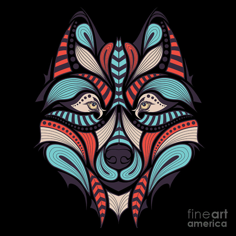 Cunning Digital Art - Patterned Colored Head Of The Wolf by Sunny Whale