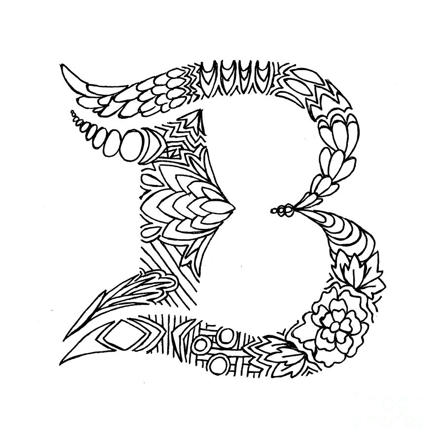Patterned Letter B Drawing By Alyssa Zeldenrust