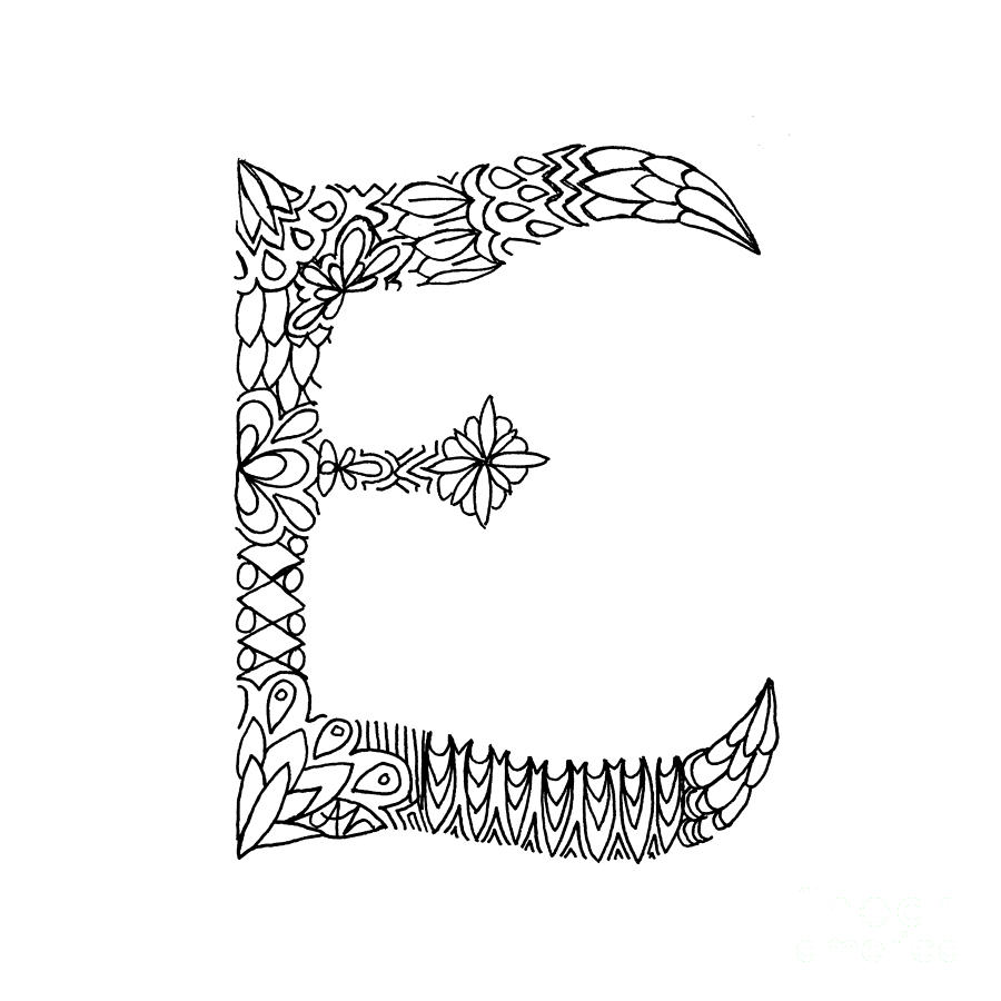 Letter Drawing - Patterned Letter E by Alyssa Zeldenrust