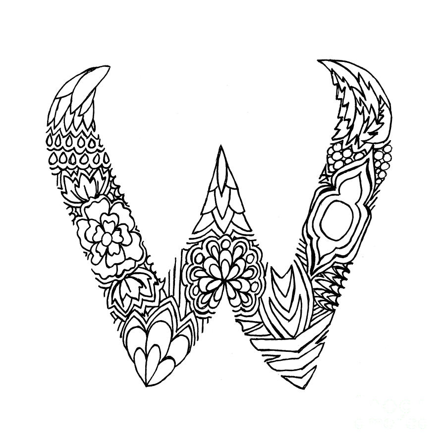 Drawing Letter W Combined with a Heart Design - YouTube  |The Letter W Designs