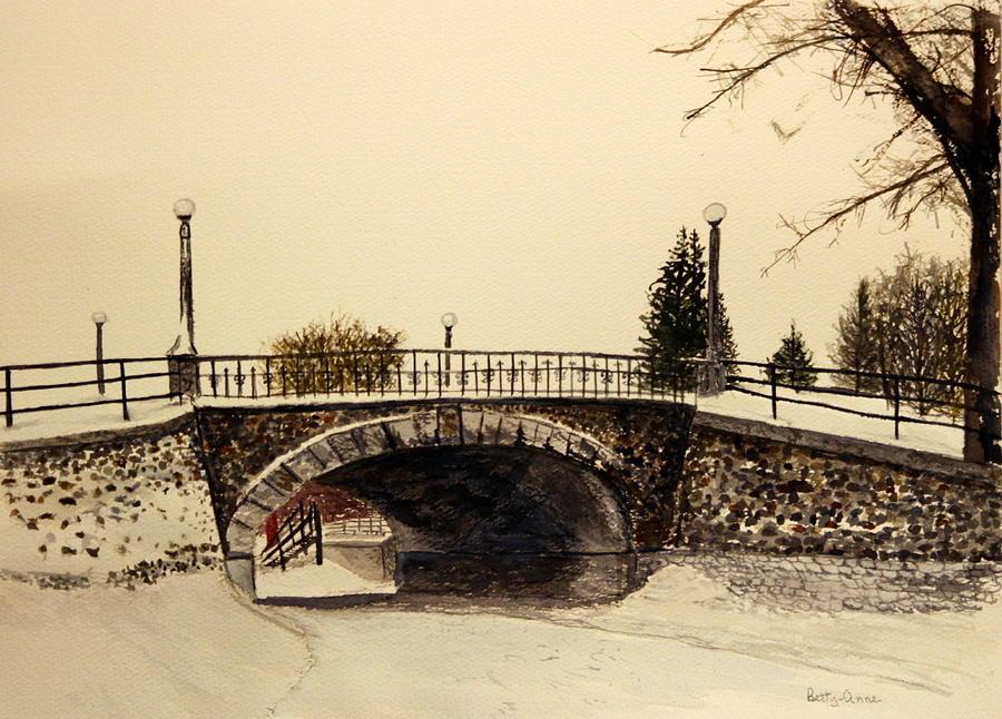 Bridge Painting - Patterson Creek Bridge In Winter by Betty-Anne McDonald