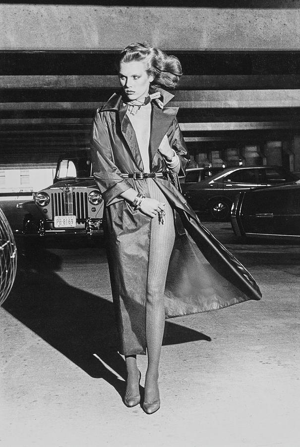 Patti Hansen In A Silk Raincoat By John Anthony Photograph by Chris von Wangenheim