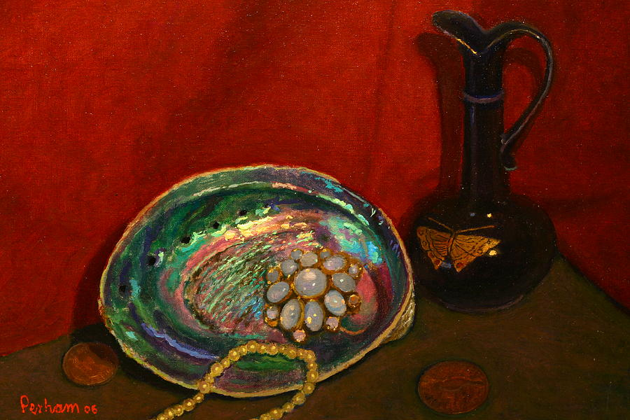 Impressionist Painting - Paua And Butterfly Vase by Terry Perham