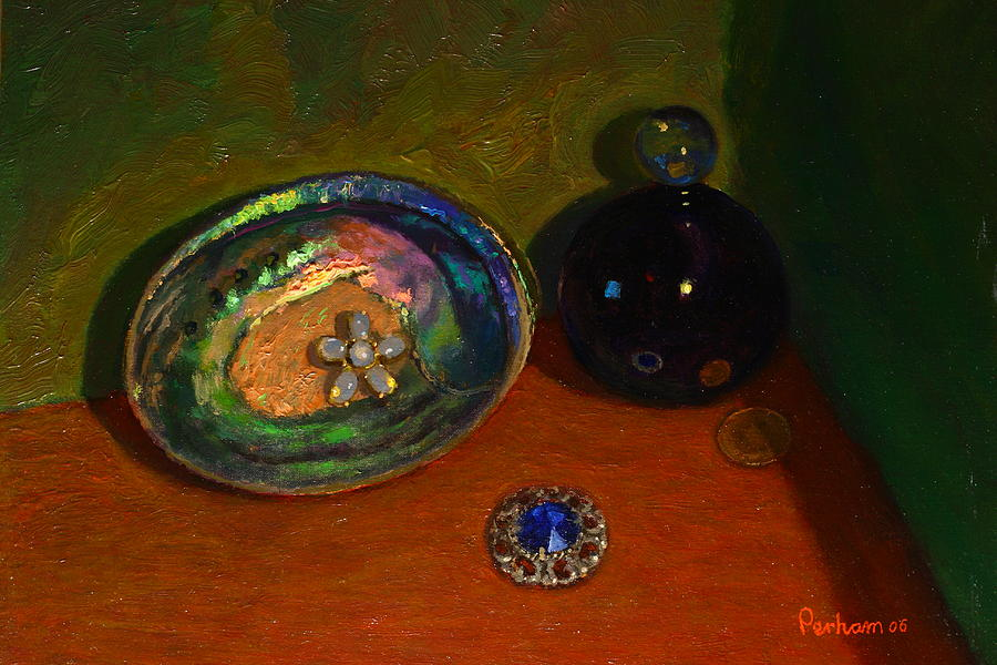 Still Life Painting - Paua With Scent Bottle. by Terry Perham