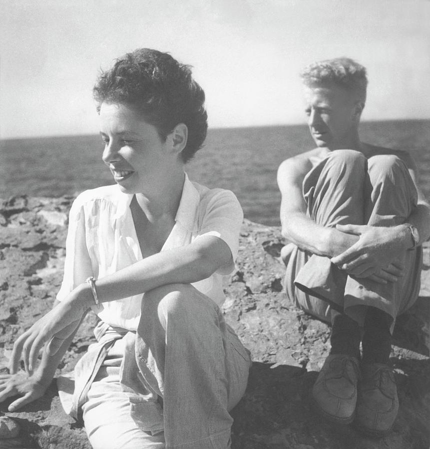 Paul And Jane Bowles At A Beach Photograph by Cecil Beaton