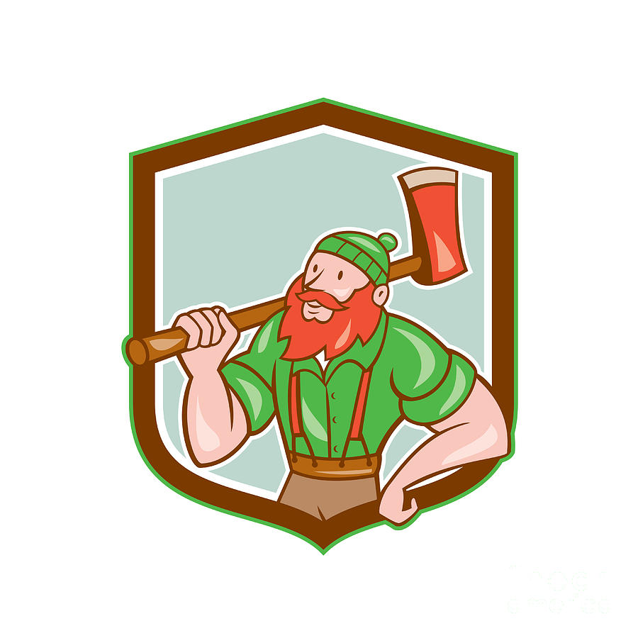 Paul Bunyan Digital Art - Paul Bunyan Lumberjack Shield Cartoon by Aloysius Patrimonio